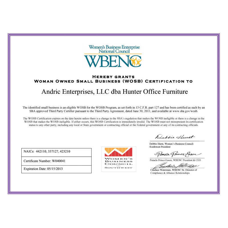 WOSB Certificate - Hunter Office Furniture