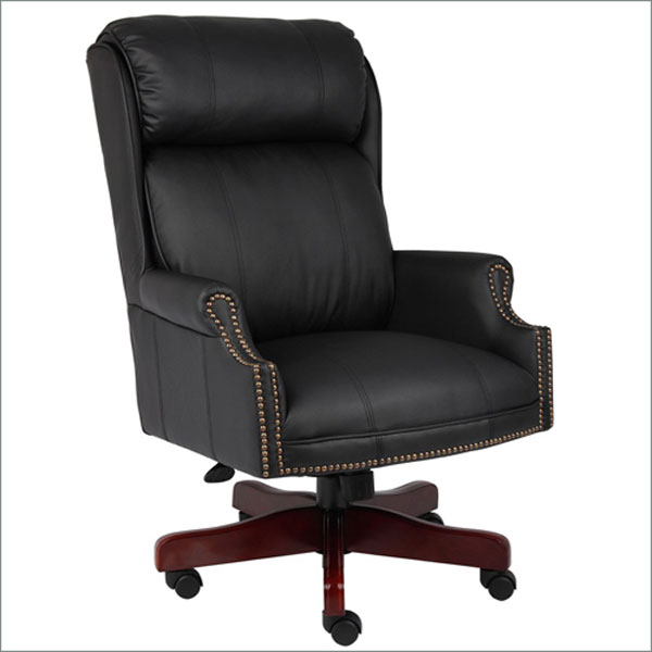 traditional chair black leather wood base dallas tx