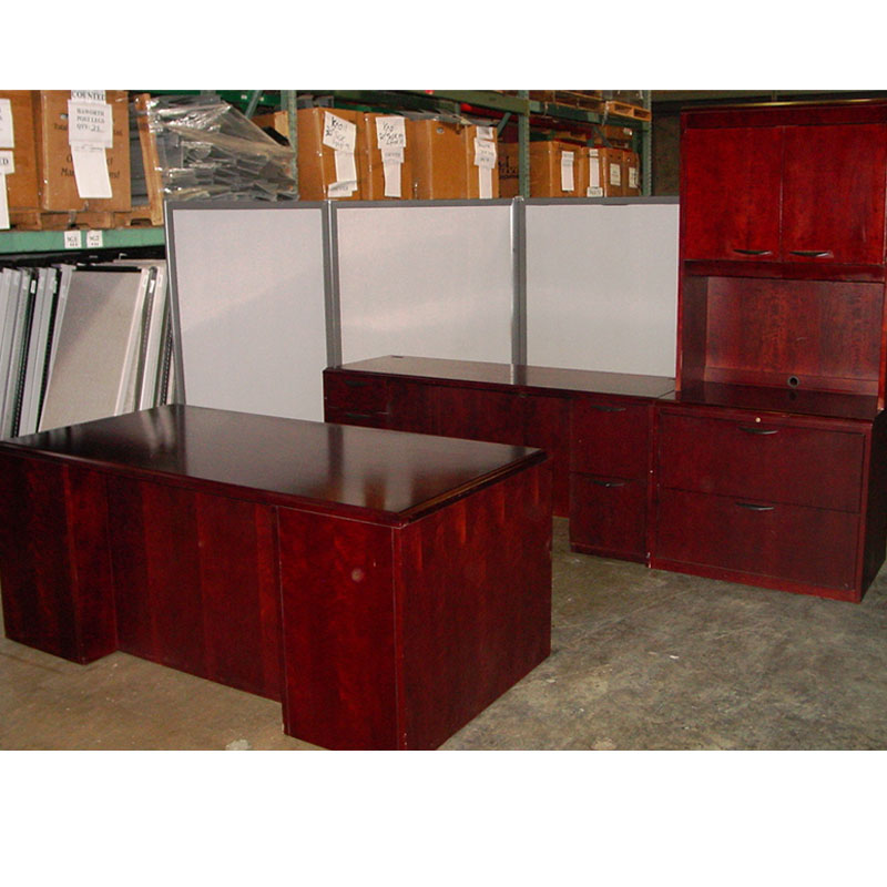 Dallas Office Furniture   Wood Desk Set with File and ...