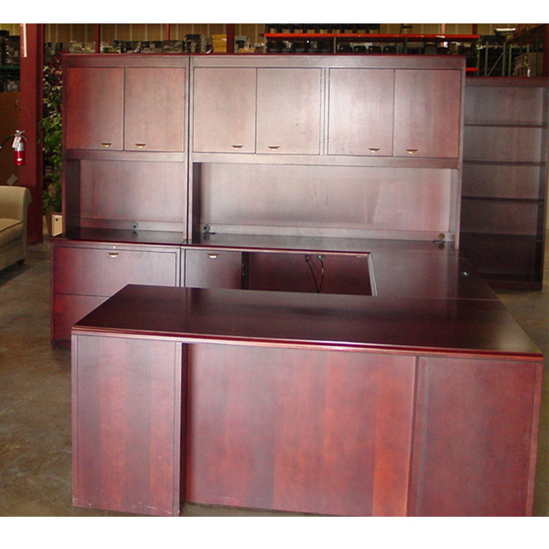 Dallas Office Furniture Executive Wood Shape Desk Used Desk Set